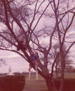 john and i in the tree at boxwood 001