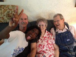 Tabitha photobombs Grandma and Grandpa pci