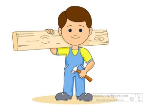 carpenter holding wood plank hammer clipart